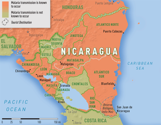Map 3-35. Malaria transmission areas in Nicaragua