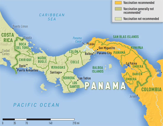 Map 3-36. Yellow fever vaccine recommendations in Panama