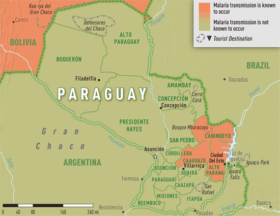 Map 3-38. Malaria transmission areas in Paraguay