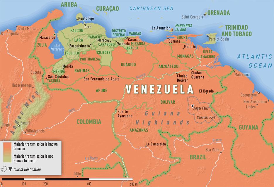Map 3-43. Malaria transmission areas in Venezuela