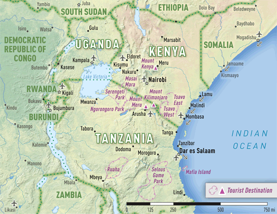 Map Of East Africa Showing Historical Sites CVFLVBP - Map of eastern africa