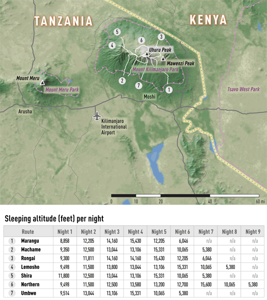Map 4-03. Kilimanjaro destination map