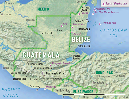 Guatemala and Belize online only Chapter 4 2016 Yellow Book – Belize Travel Map
