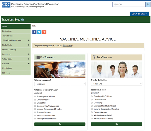 Figure 1-01. CDC Travelers' Health website home page