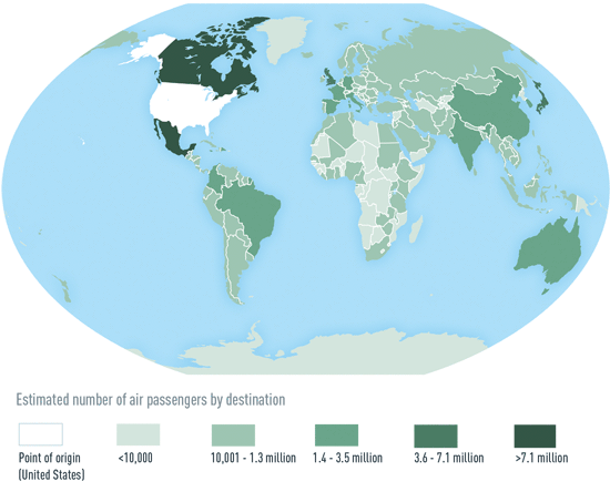 Map 3-01. Estimated number of US air travelers received