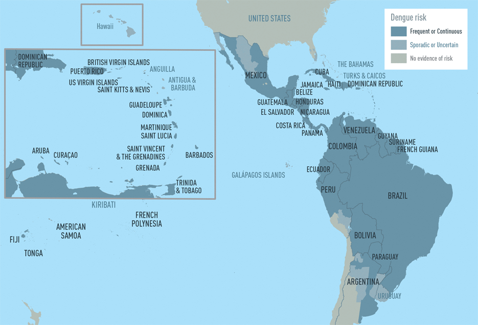 Map 3-01. Distribution of dengue in the Americas and the Caribbean