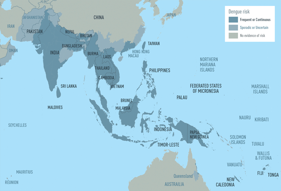 Map 3-03. Dengue risk in Asia and Oceania