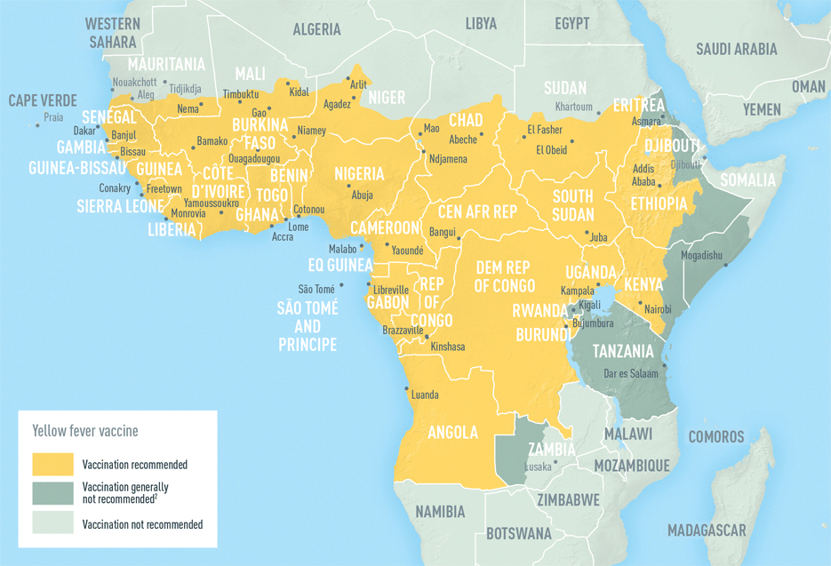 Map 3-14. Yellow fever vaccine recommendations in Africa