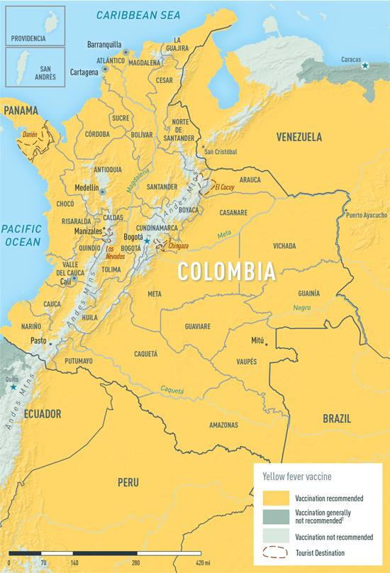 Map 3-23. Yellow fever vaccine recommendations in Colombia