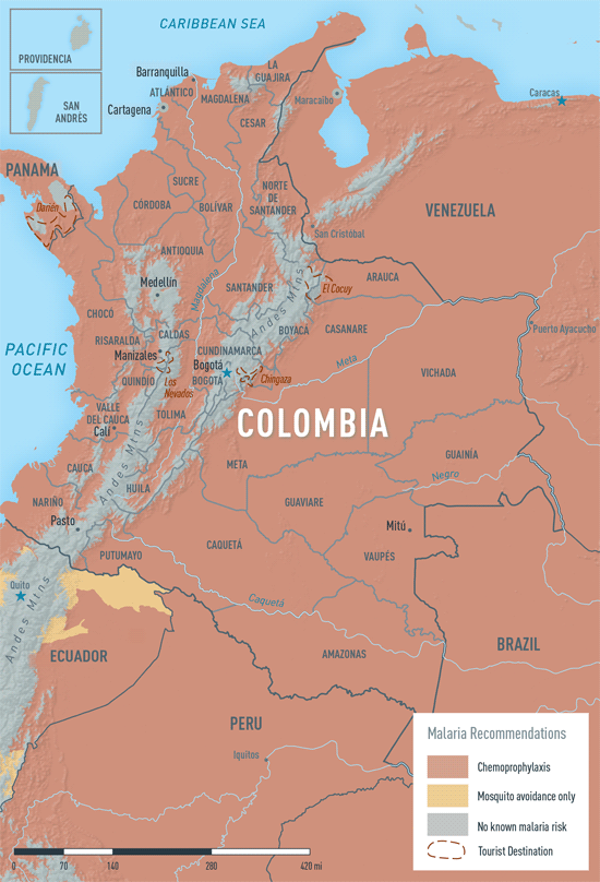 Map 3-24. Malaria in Colombia