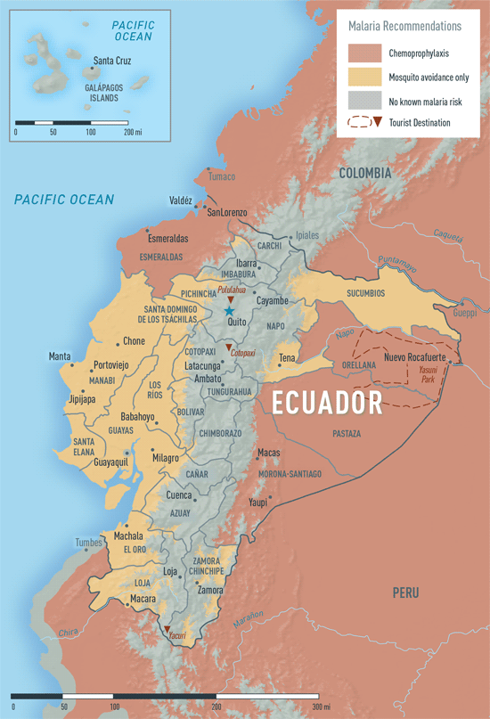 Map 3-26. Malaria in Ecuador