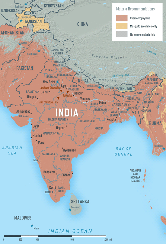 Map 3-29. Malaria in India
