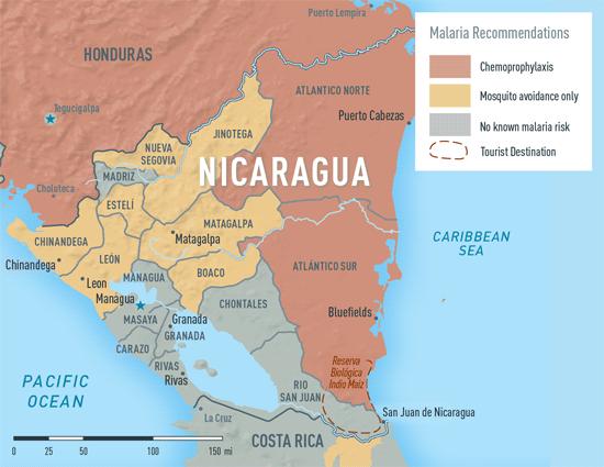 Map 3-33. Malaria in Nicaragua