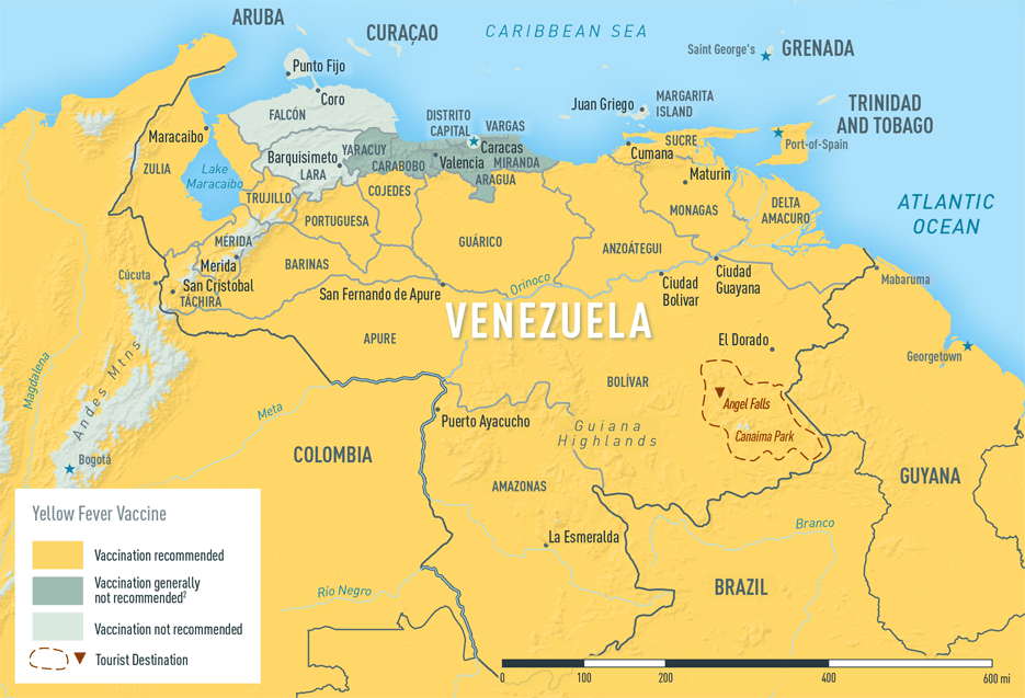 Map 3-39. Yellow fever vaccine recommendations in Venezuela