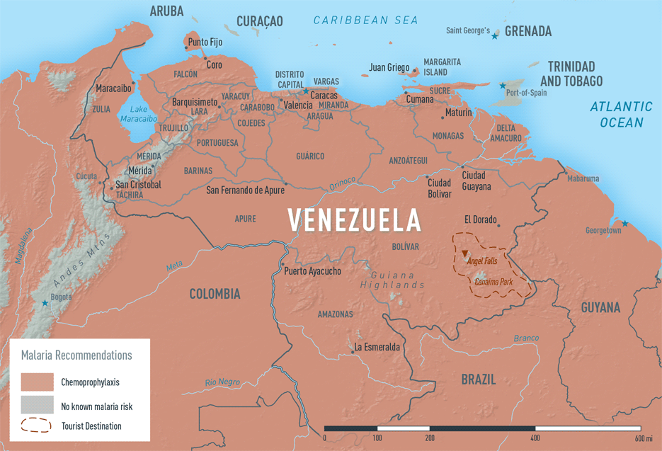 Map 3-40. Malaria in Venezuela