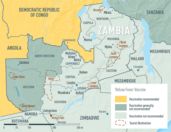 Map 3-41. Yellow fever vaccine recommendations in Zambia