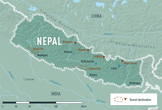 Map 4-14. Nepal destination map