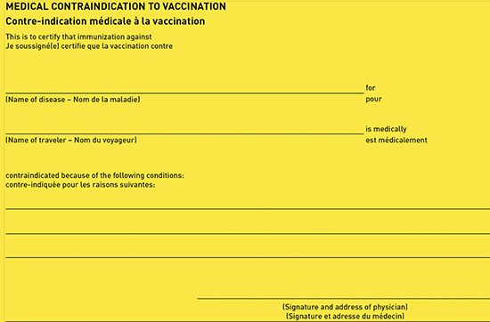 Figure 4-03. Medical contraindication to vaccination section of the international certificate of vaccination or prophylaxis (ICVP)