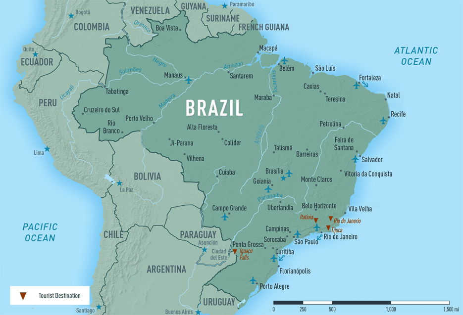 Map 10-05. Brazil destination map