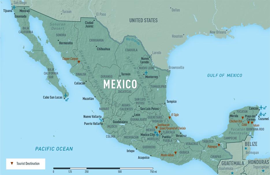 Map 10-09. Mexico destination map