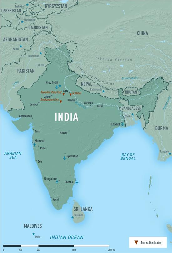 Map 10-13. India destination map