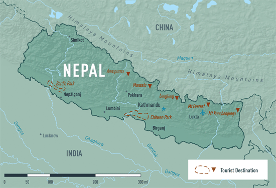 Map 10-14.  Nepal destination map