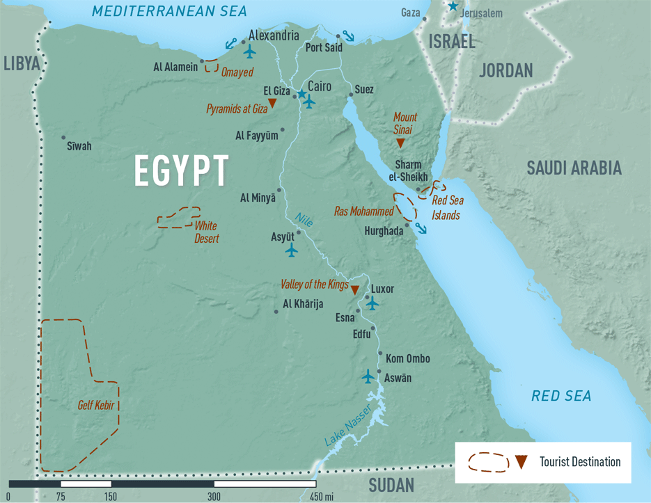 Map 10-16. Egypt destination map