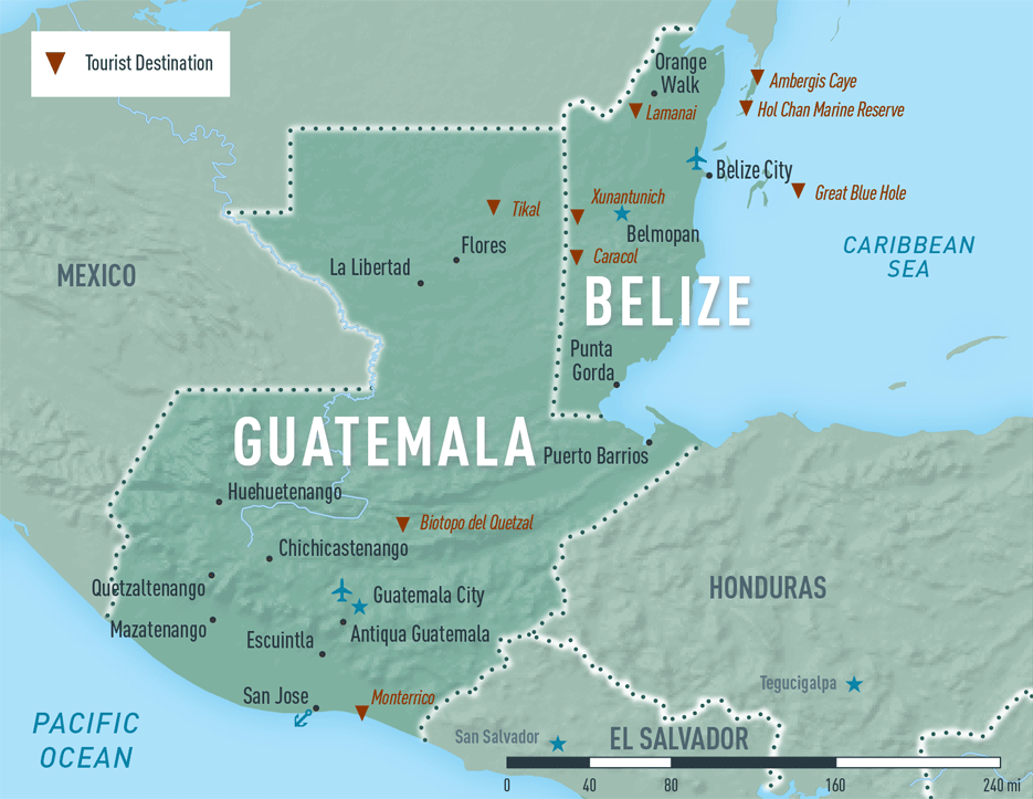 Map 10-18. Guatemala and Belize destination map