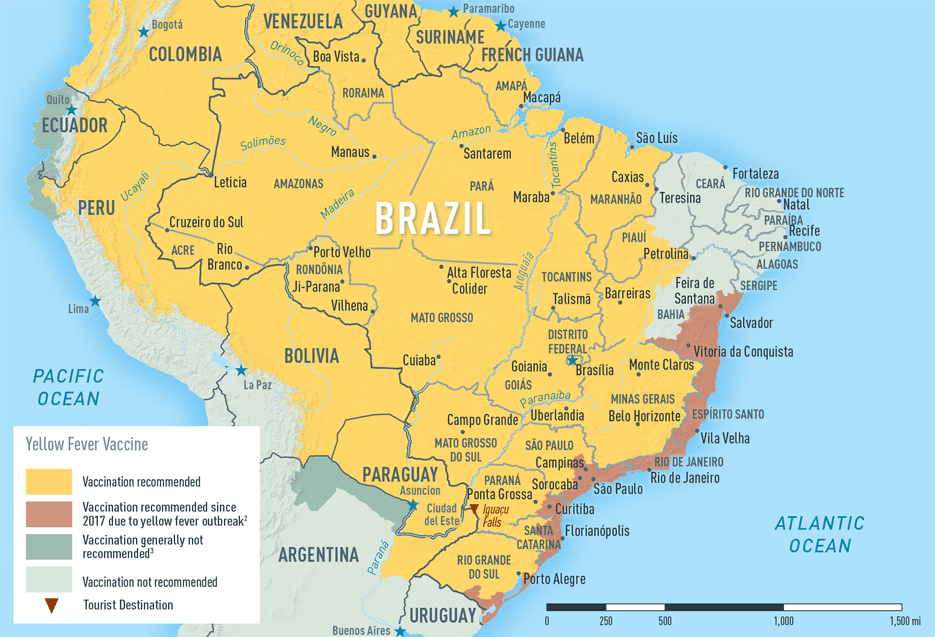 malaria brasilien karte Yellow Fever Vaccine & Malaria Prophylaxis Information, by Country