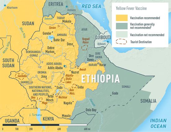 MAP 2-13. Yellow fever vaccine recommendations in Ethiopia