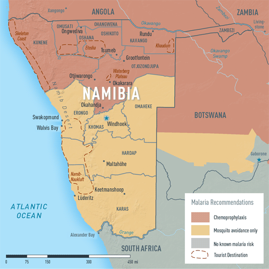 where is malaria in namibia