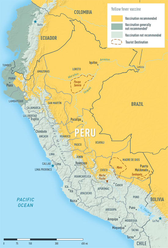 MAP 2-23. Yellow fever vaccine recommendations in Peru