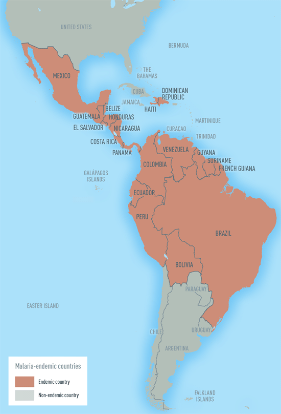 Map 4-08. Malaria-endemic countries in the Western Hemisphere