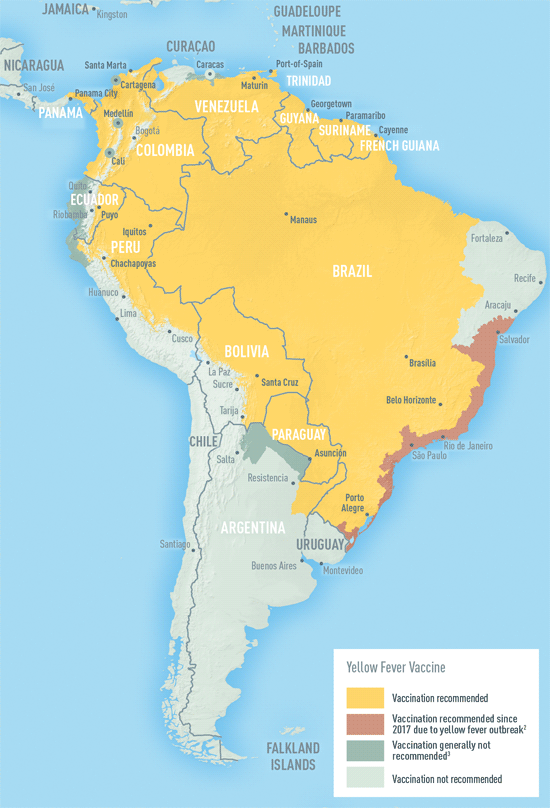 Map 4-14. Yellow fever vaccine recommendations in the Americas