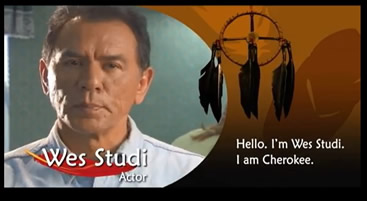 2.	Wes Studi, an actor with a dream catcher displayed