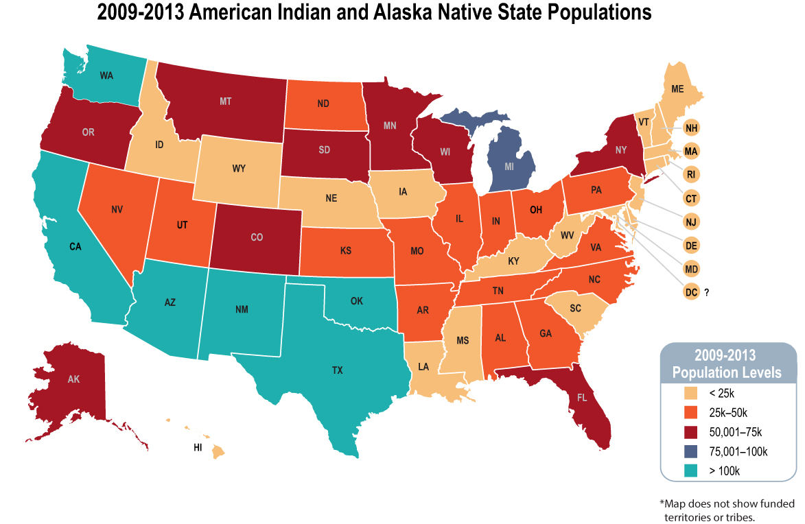 map of american indian and alaska native state populations 2009 2013 states