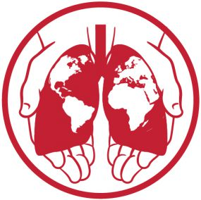 Two hands holding a pair of lungs, with globe superimposed on top