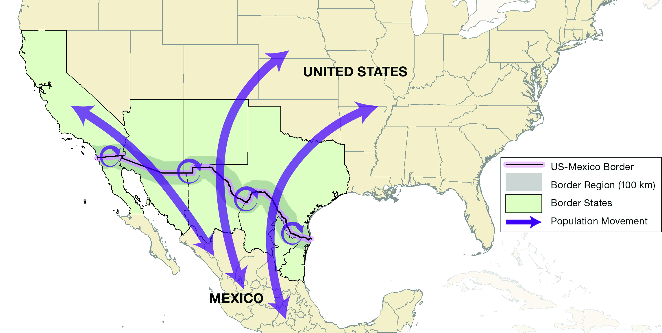 map of the united states and mexico with a focus on the 4 border states
