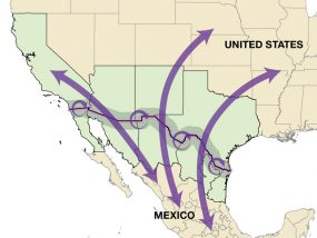 Map: Map of the United States and Mexico, with a focus on the 4 border states in the US and 6 border states in Mexico. Arrows show long-distance population movement in both directions between countries. Other circular arrows show continual population movement between the US and Mexico in the border region, determined as the 100 kilometers on either side of the US-Mexico border.