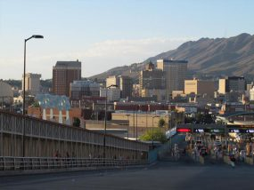 View from Ciudad Juarez, Mexico, looking into El Paso through the port of entry vehicle lanes