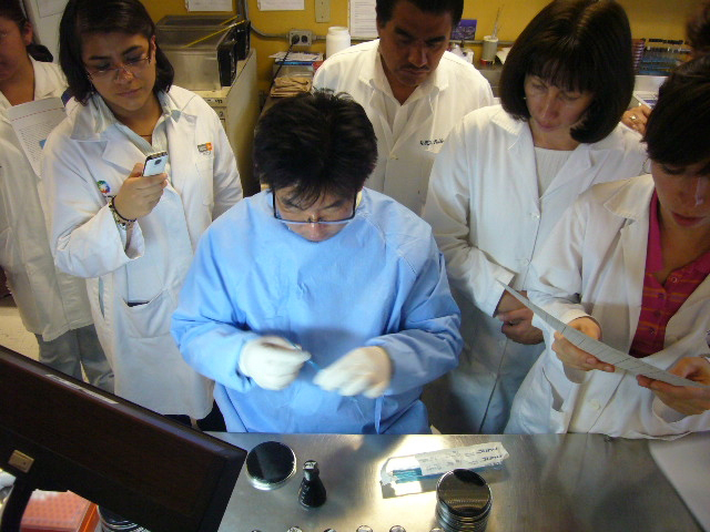 Binational lab technicians participate in a diagnostic training.