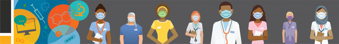 graphic of several medical professionals wearing face masks
