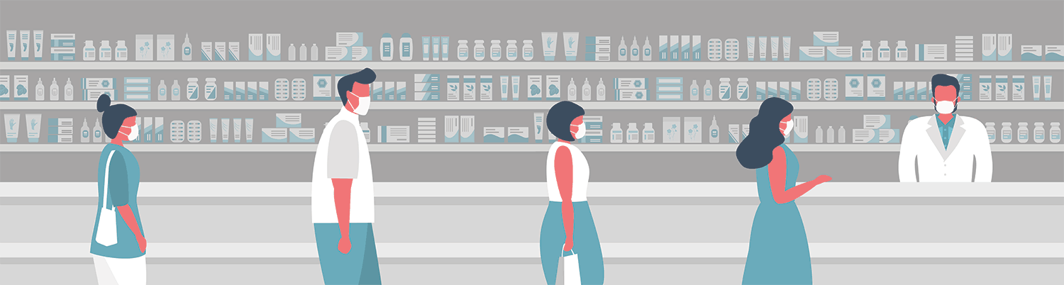 Illustration: retail pharmacy setting showing customers in front of a pharmacist