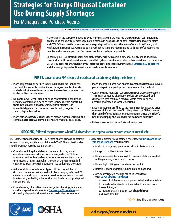 Strategies for Sharps Disposal Container Use During Supply Shortages for Managers and Purchase Agents
