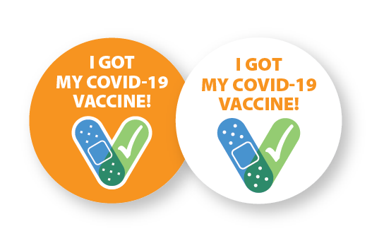 "Two stickers that say ""I got my COVID-19 vaccine!"""