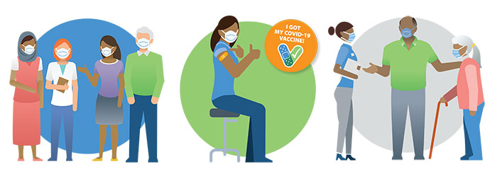 Illustrations of a person getting vaccinated and people standing with masks on.