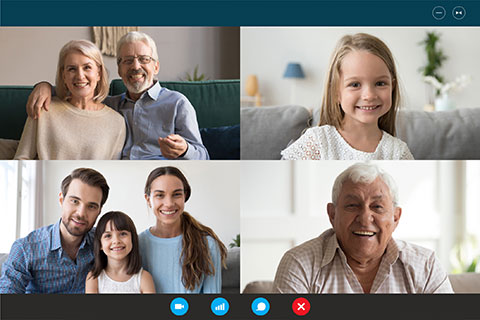 Webcam laptop screen view multigenerational family involved in videocall communication