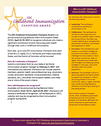 CDC Childhood Immunization Champion flyer