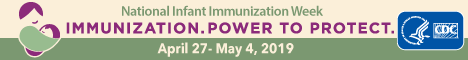 HHS, CDC National Infant Immunization Week, April 21-28, 2018 button