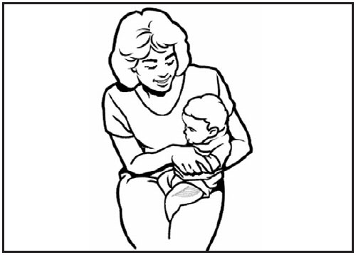 This drawing shows a mother holding an infant. The anterolateral aspect of the infant's thigh is shaded, showing the proper site for intramuscular/subcutaneous vaccine administration.